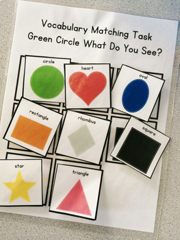 Green Circle Shape Vocabulary Folder Game for Students with Autism