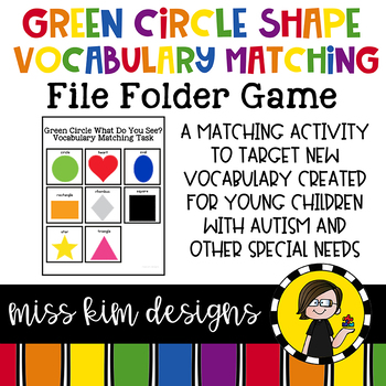 Green Circle Shape Vocabulary Folder Game for students wit