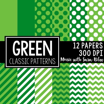 Green Classic Designs- 12 Digital Papers