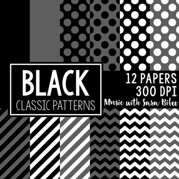 Black Classic Designs- 12 Digital Papers