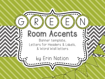 Green Classroom Accents {banners, letters, & word wall headers}