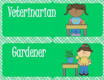 Green Classroom Jobs with Clip art