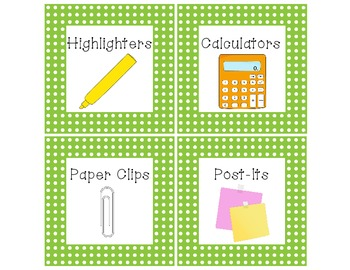 Green Classroom Supply Labels