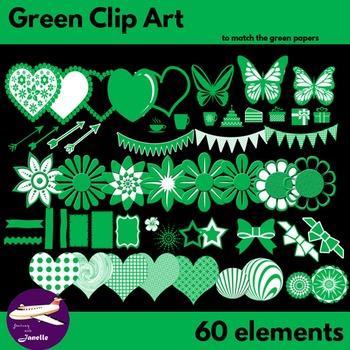 Green Clip Art Decoration Scrapbooking Elements - 60 items