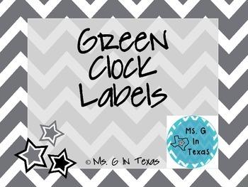 Green Clock Labels