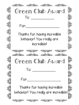Green Club Behavior Award