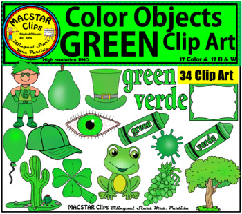 Green Color Objects Clip Art English & Spanish Personal ...