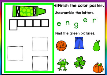 Green Color Recognition Color Word Boom Cards (Learning Colors - Green)