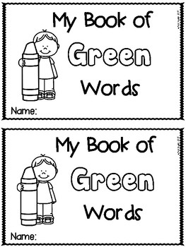Green Color Word Emergent Reader