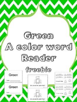 Green Color Word Reader - Freebie
