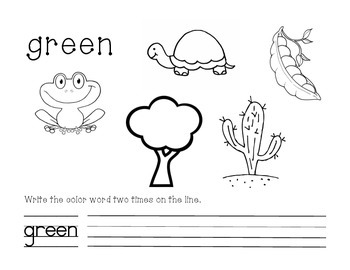 Green Color and Write Worksheet