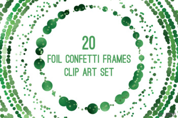 Green Confetti Round Frames 20 PNG Clip Art 8in Foil Metallic S5