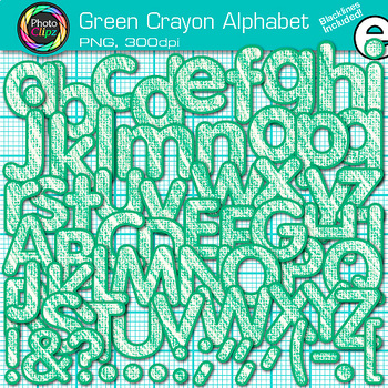Green Crayon Alphabet Clip Art {Great for Classroom Decor & Resources}