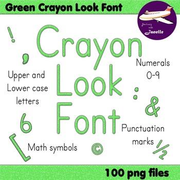 Alphabet Clip Art Green Crayon Look +Numerals, Punctuation