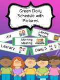 Green Daily Schedule with Visual Pictures