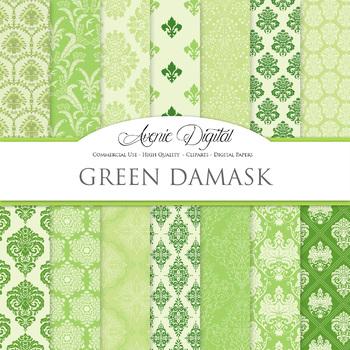 Green Damask Digital Paper patterns - ornate floral backgrounds