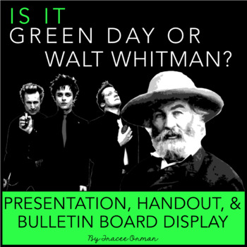 Green Day or Walt Whitman Poetry Interactive Bulletin Board and Activity