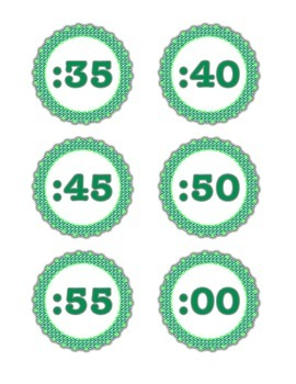 Green Digital Clock Labels