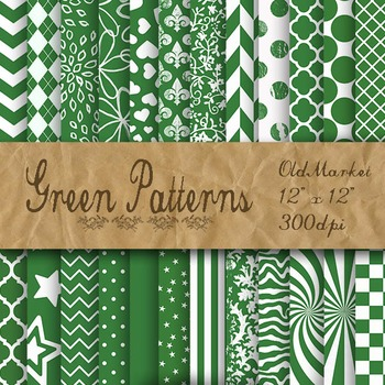 Green Digital Paper - Green Pattern Designs - 24 Different Papers - 12 x 12