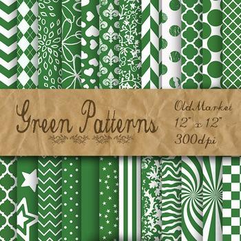 Green Digital Paper - Green Pattern Designs - 24 Different