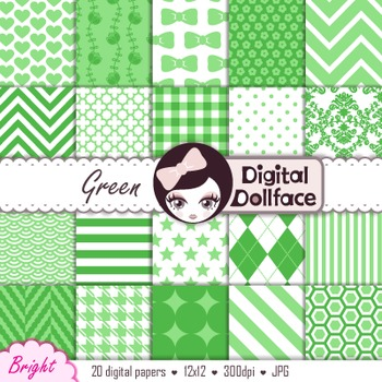 Digital Paper -Green Background Patterns