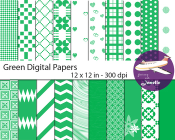 Green Digital Papers for Backgrounds, Scrapbooking and Classroom Decorations