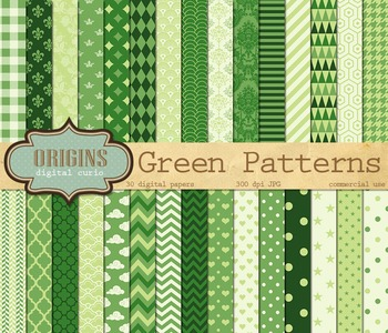 Green Digital Scrapbook paper, green classic patterns, printable backgrounds