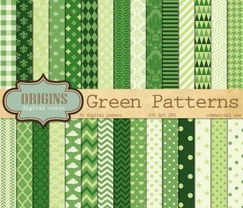Green Digital Scrapbook paper, green classic patterns, printable backgrounds