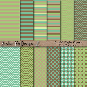 Green Earth Chevron, Polka Dot & Striped Papers for Backgrounds and More