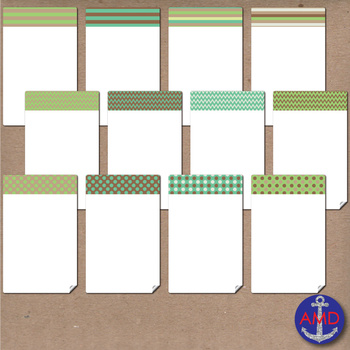 Green Earth Clip Art Chevron, Polka Dot & Striped Post-its, Labels and Notecards