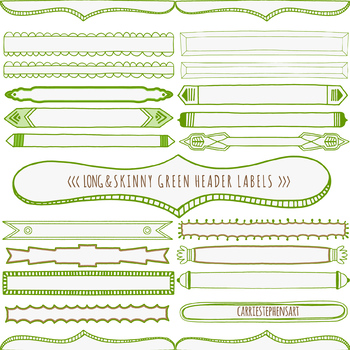 Green Earth Skinny Header Labels, Page Title ClipArt Borders