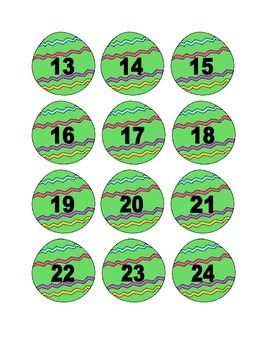 Green Easter Egg Numbers for Calendar or Counting Activity
