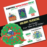 Green Eco Holiday Stickers Clip Art Page Green Earth Theme