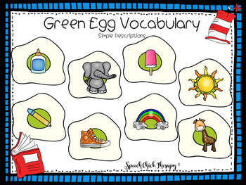 Green Egg Vocabulary Mats for Speech Therapy