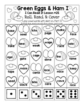 Green Eggs & Ham - I Can Read It! Roll, Read, and Cover (Lesson 25)