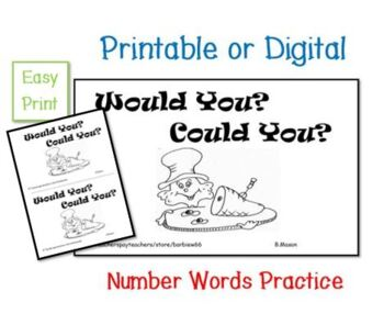 Green Eggs Response Book: Guided Reading, Number Words: Use with Seuss