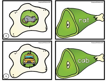 Green Eggs and Ham CVC Matching Literacy Center with Recording Sheet