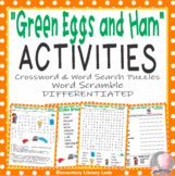 Green Eggs and Ham Dr. Seuss Activities Crossword Word Searches Scramble