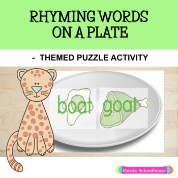 Dr. Seuss Activity -Green Eggs and Ham Inspired Rhyming Words On Plate: Puzzles