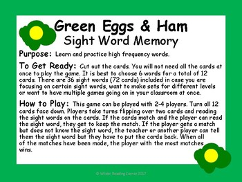 Green Eggs and Ham Sight Word Memory {High Frequency Word Game}