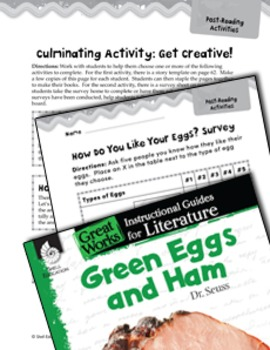 Green Eggs And Ham Post Reading Activities
