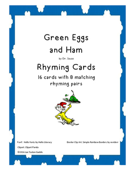 Green Eggs and Ham Rhyming Cards (Read Across America)