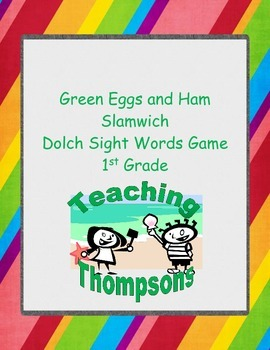 Green Eggs and Ham Slamwich Dolch Sight Words Game 1st Grade