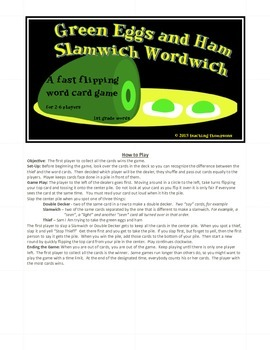 Green Eggs and Ham Slamwich Dolch Sight Words Game 2nd Grade