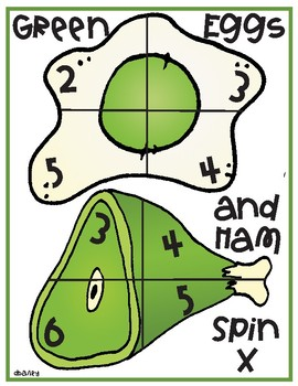Green Eggs and Ham Spin - Addition, Subtraction, Multiplication