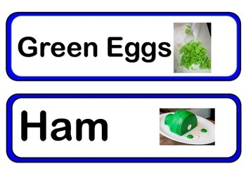Green Eggs and Ham Word Wall Words