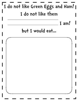 Green Eggs and Ham Writing Drawing Activity