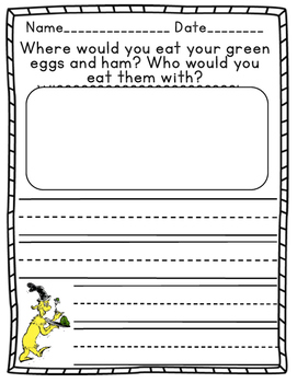Dr. Seuss Writing Prompt: Green Eggs and Ham Writing Prompts