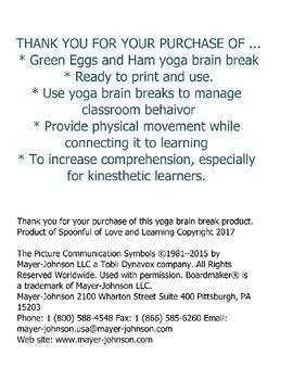 Green Eggs and Ham Yoga Brain Break
