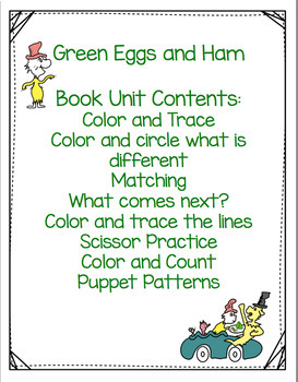 Green Eggs and Ham by Dr. Seuss  Book Unit